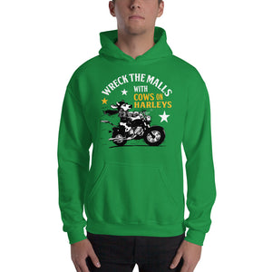 Limited time-FREE Shipping-Wreck the Malls with Cows on Harleys Holiday Hoodie-No Ugly Holiday Sweater this year!
