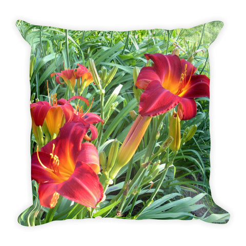 Lilies Square throw Pillow