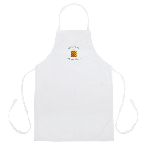 "Super Cute: ""Will Cook For Presents"" Embroidered Apron-Unique"