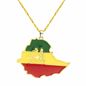 Ethiopian Flag & Lion on Map Necklace for Women & Men