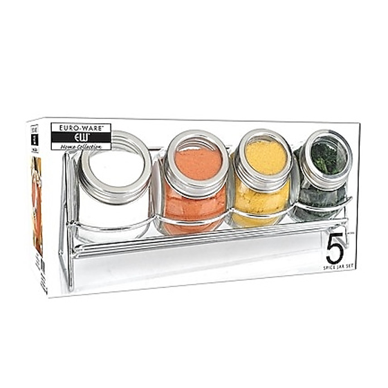 EURO-WARE GLASS SPICE JARS WITH CHROME SPICE RACK - 5PC