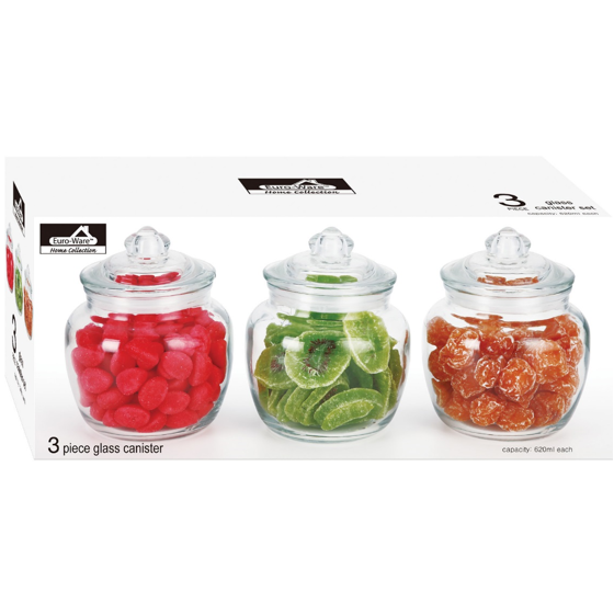 EURO-WARE 3 PIECE 620ml/each  GLASS CANISTER SET