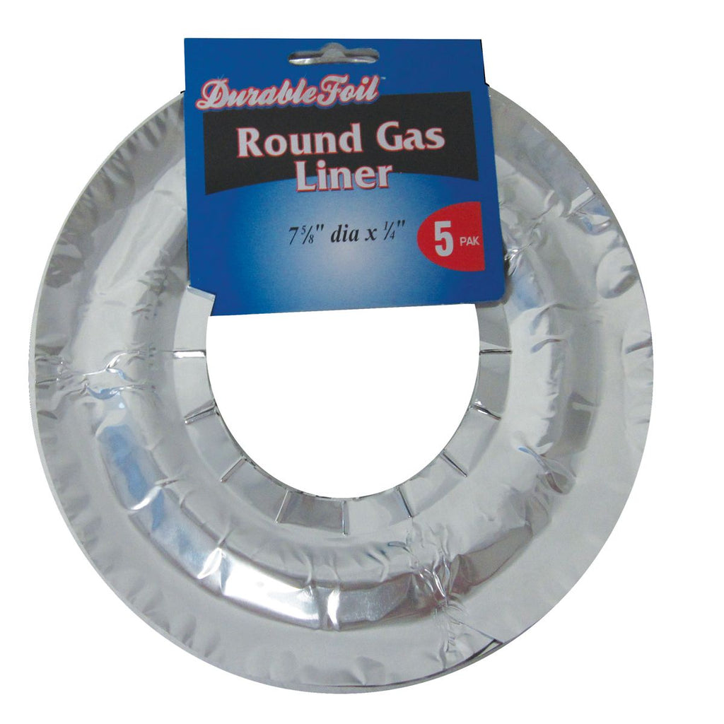 DURABLE FOIL ROUND GAS BURNER LINERS 5PK