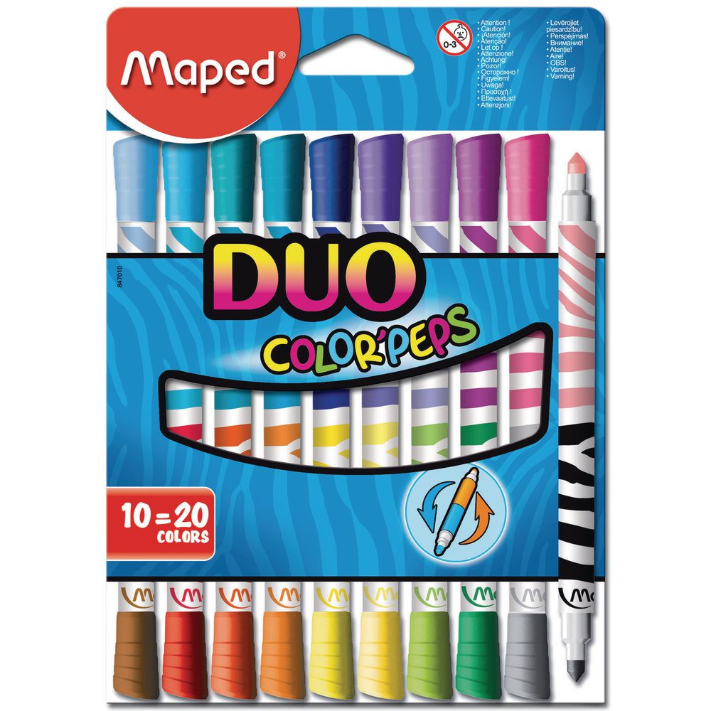 MAPED COLOR PEPS FELT TIP DUO 10=20 COLORS