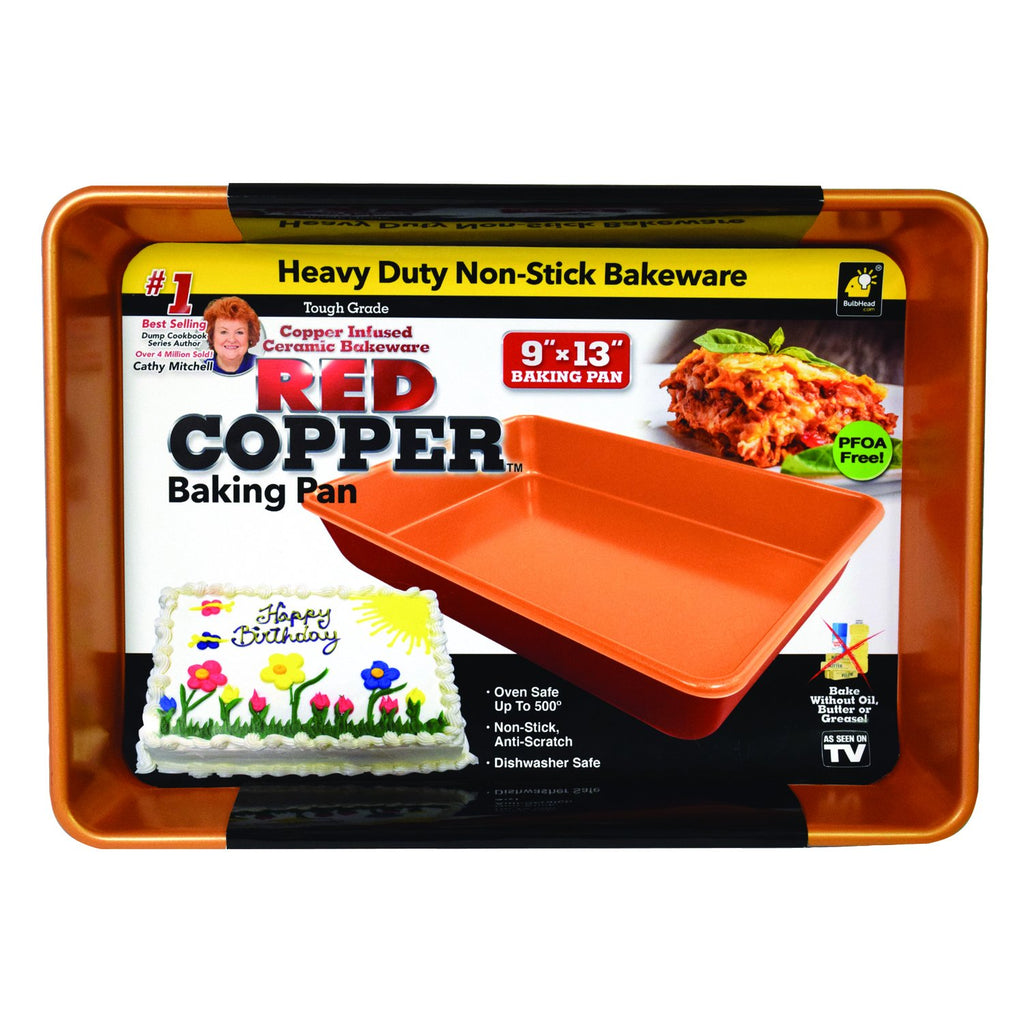 Red Copper Baking Pan, size 22.5cm x 33cm