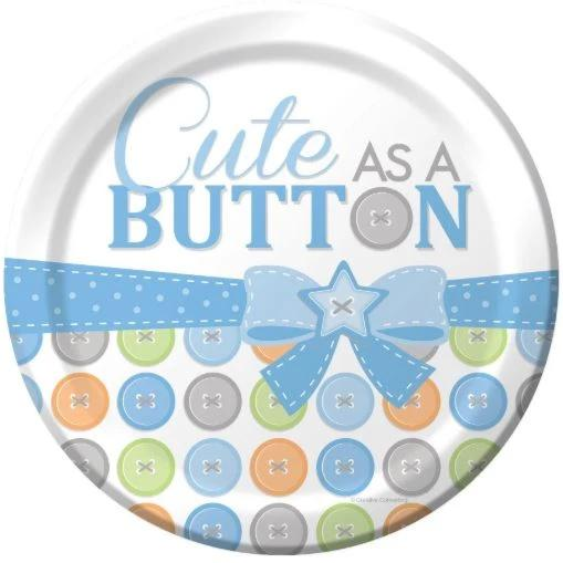 Cute as a Button, Paper Party Plates, 8pcs, Blue