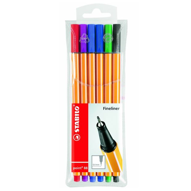 STABILO FINE-LINER POINT88 , 6 Colors pack