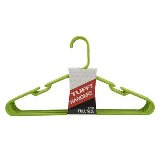 TUFF! Green Plastic Clothes Hangers, 6pack