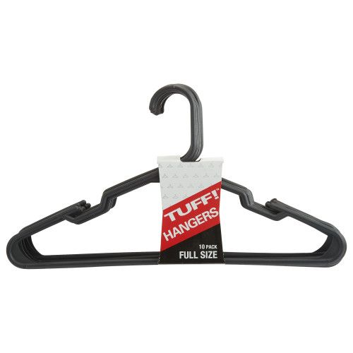 TUFF! BLACK Plastic Clothes Hangers, 3pack