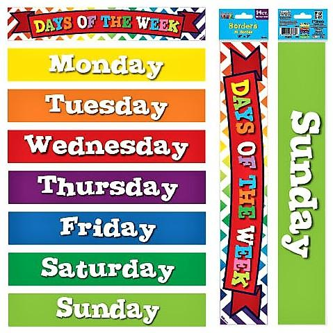 DAYS OF THE WEEK STRAIGHT PRINTED BORDER/HEADER ,45cm x 7.5cm