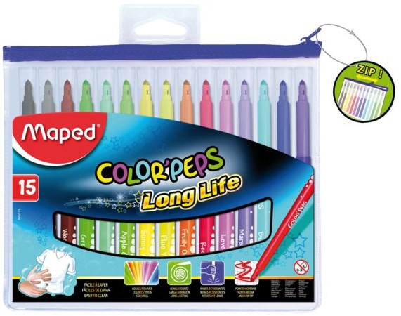 MAPED COLOR PEPS FELT TIPS 15 COLOR+ ZIP BAG
