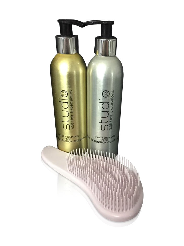 Sulphate Free Hair Extension Shampoo & Conditoner | Hair Extension Brush | 250ml Bottles