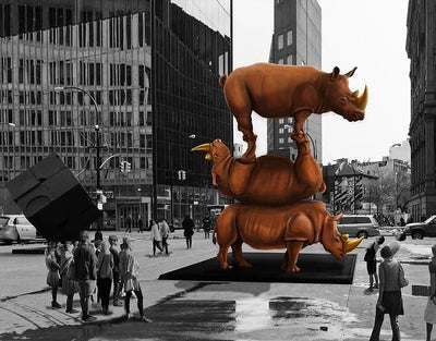 Artists Want to Build the Largest Rhino Sculpture in the World at Astor Place in NYC