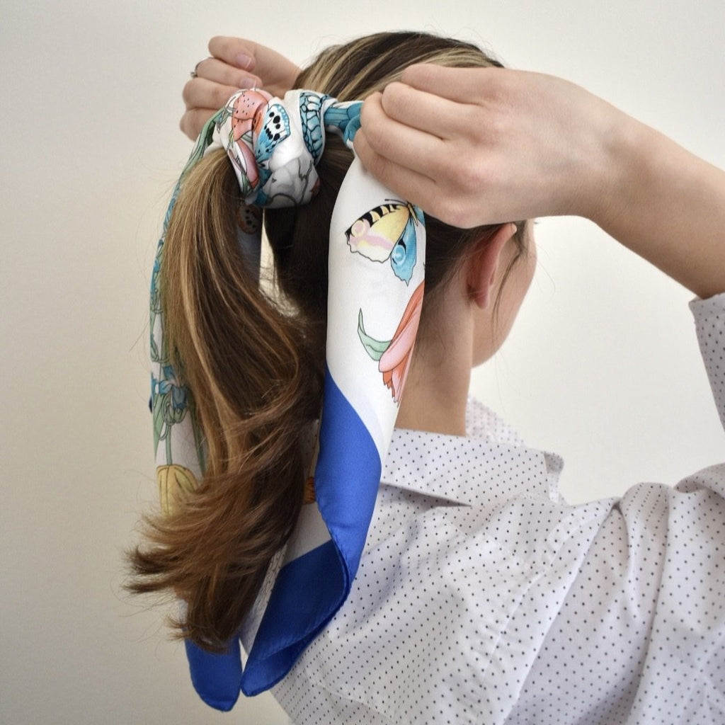 Dellrose Gia floral silk scarf in blue