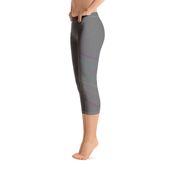 Ladies' Grey Rainbow Striped Capri Leggings