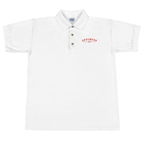 Mens Heart Month Polo White Embroidered Polo Shirt