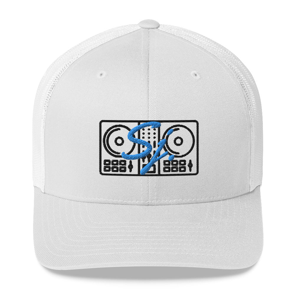 Blue Sara J. Logo w/ Black Mixer Trucker Cap