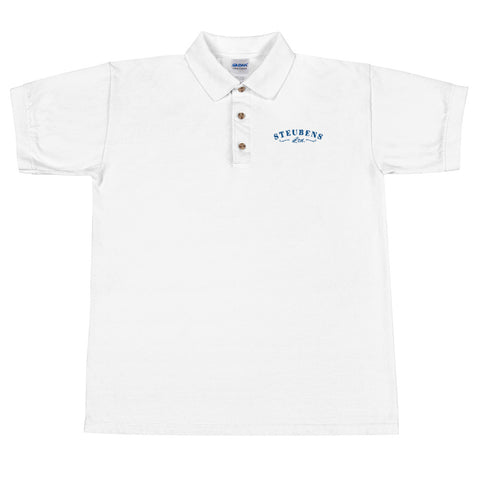 Mens Blue Writing Embroidered Polo Shirt (Multiple colors)