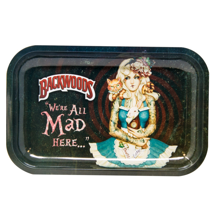 "BACKWOODS ALICE IN WONDERLAND ""WE'RE ALL MAD HERE"" ROLLING TRAY"