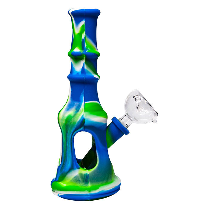 SILICONE BONG BLUE 8""