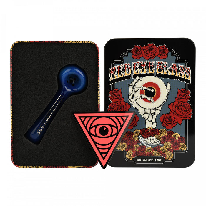 RED EYE GLASS HAND PIPE W/ COLLECTIBLE TIN CASE - BLUE