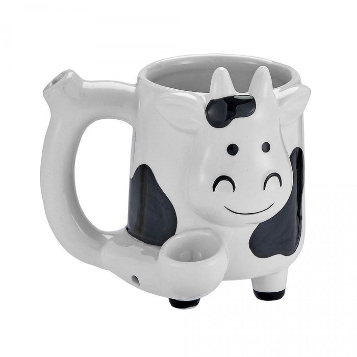 COW CERAMIC MUG PIPE