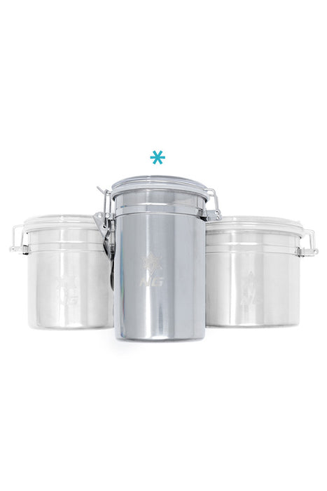 NICE GLASS STAINLESS METAL CANISTERS