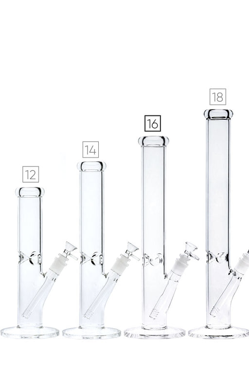 CLEAR STRAIGHT BONG - NO LOGO - 4 SIZES