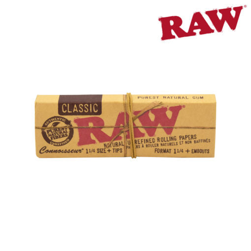 RAW 1¼ CLASSIC NATURAL HEMP CONNOISSEUR PAPERS W/TIPS
