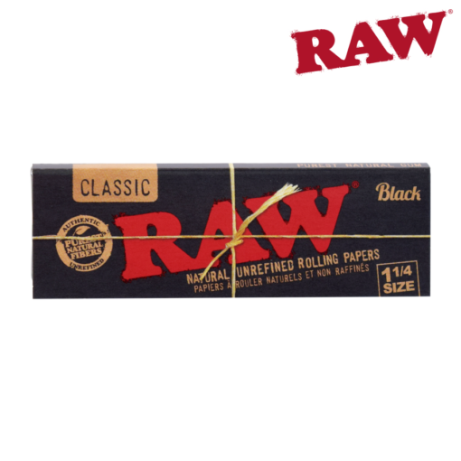 RAW 1¼ BLACK NATURAL UNREFINED HEMP PAPERS