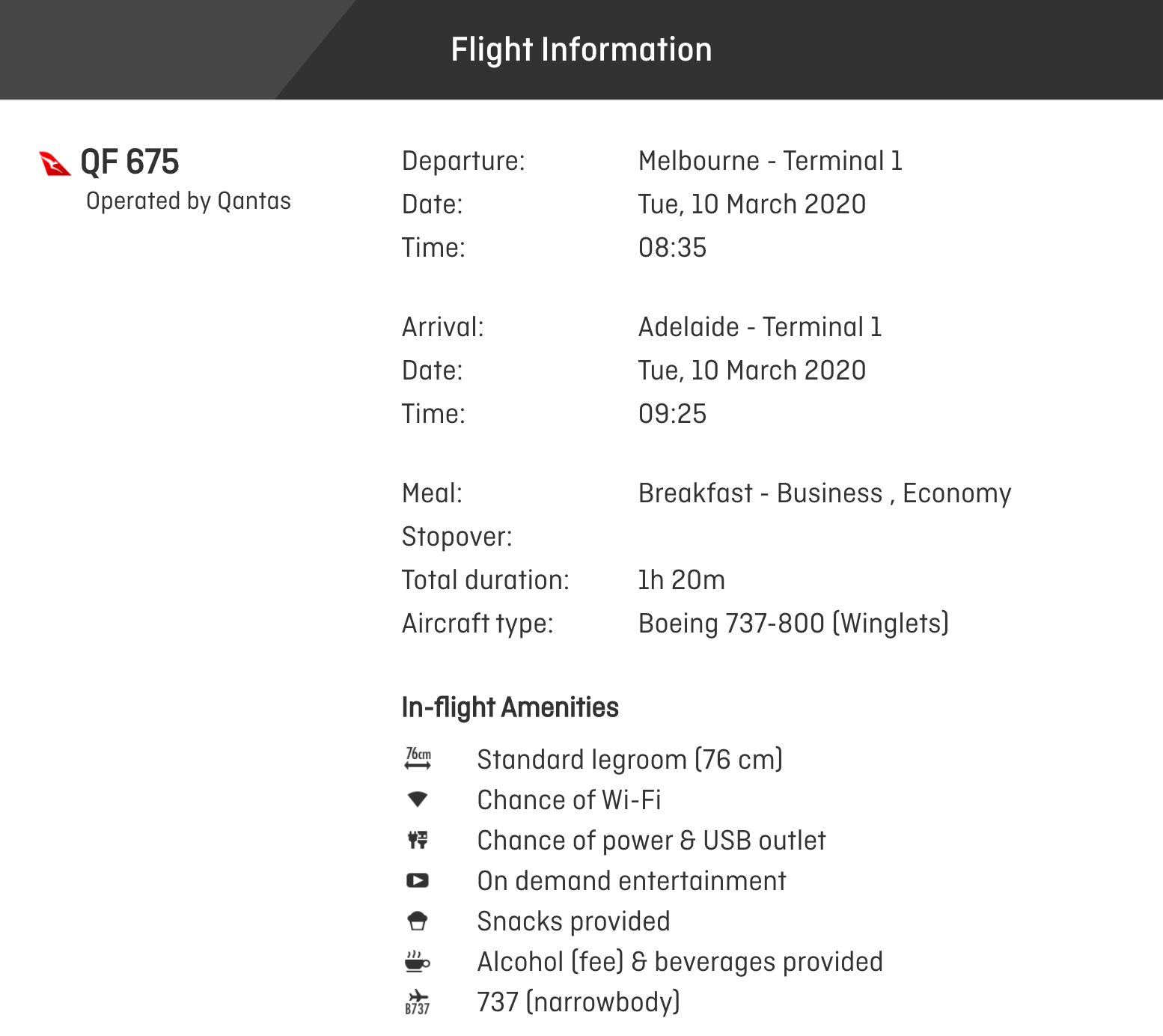 Qantas 737 review flight details