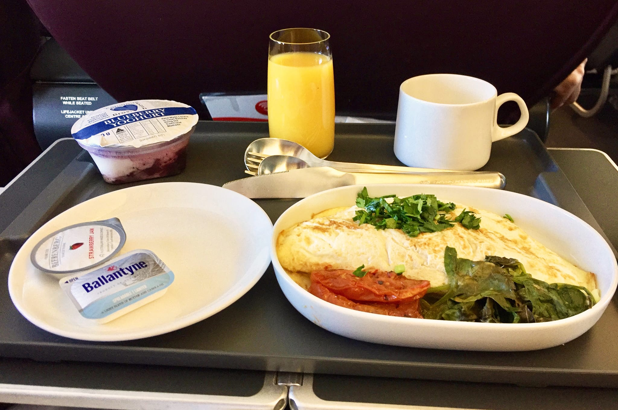 Qantas 737 Business Class Breakfast