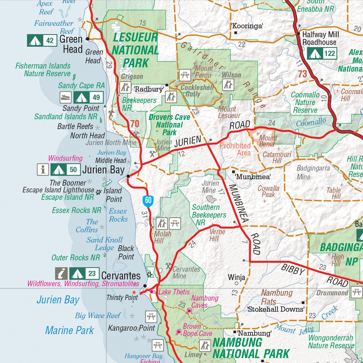 Western Australia 4wd Map.4wd Camping Escapes Perth And South West Western Australia