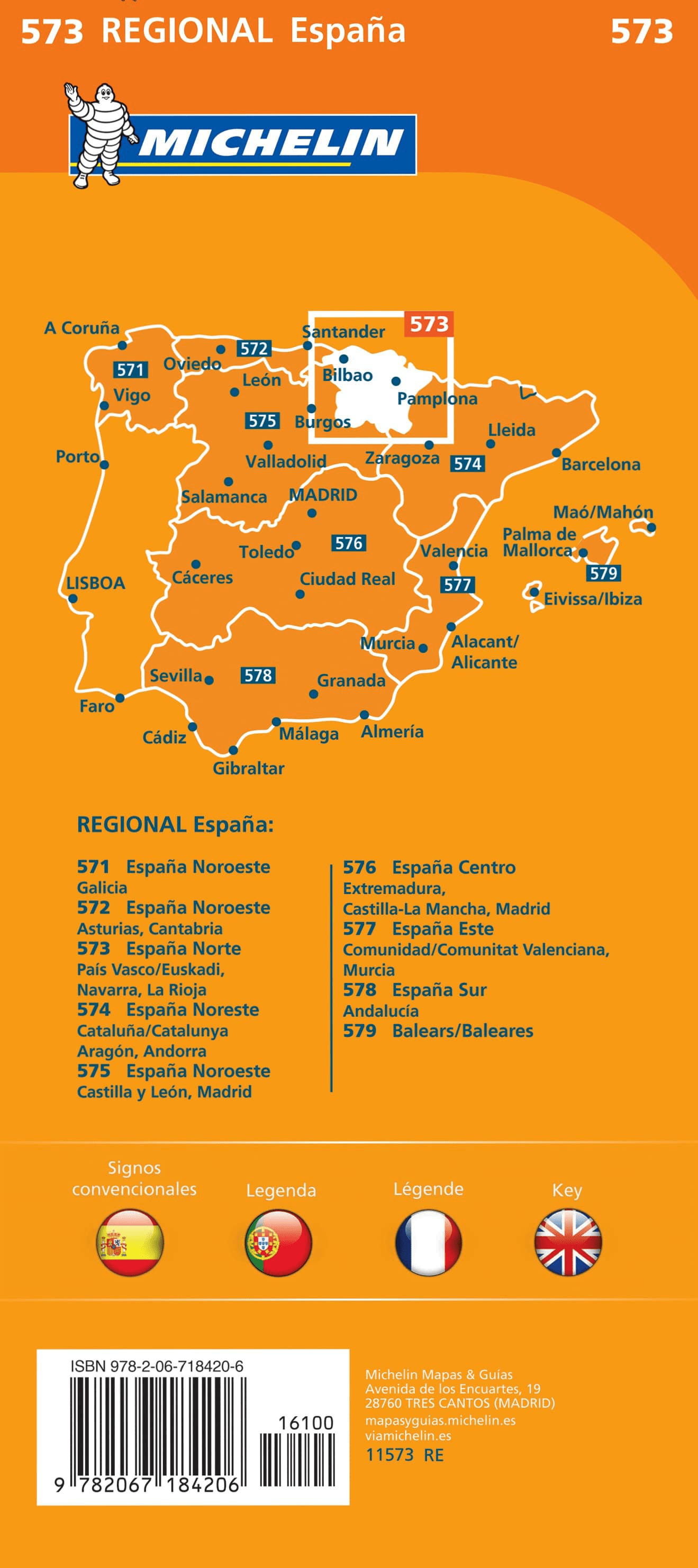 Map Of Spain Navarra.Spain North Basque Country Navarra Rioja Michelin Map 573