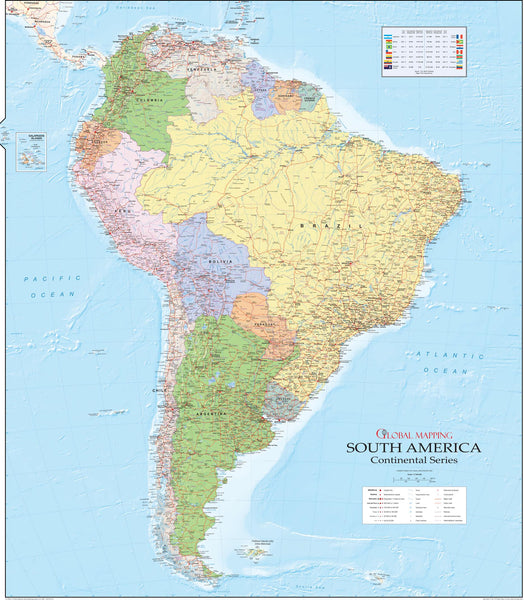 South America Political Wall Map 920 x 1048mm