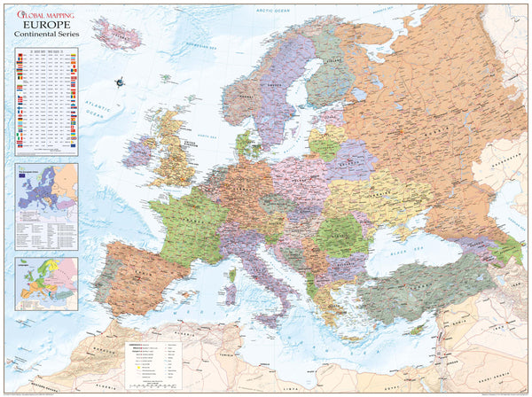 Europe Political Wall Map 1232 x 920mm