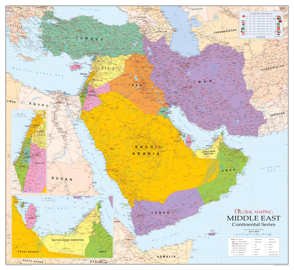 Middle East Wall Map 993 x 920mm