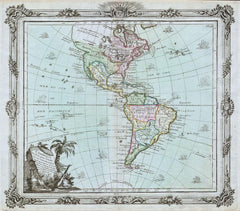 Brion de la Tour Map of North America and South America (1764) Print