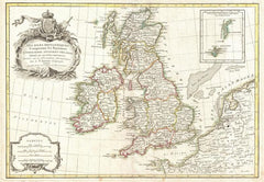 Zannoni Map of the British Isles: England, Scotland, Ireland (1771) Print