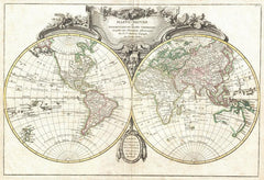 Lattre and Janvier Map of the World on a Hemisphere Projection (1775) Print
