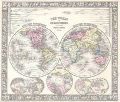 Mitchell Map of the World on Hemisphere Projection (1864) Print