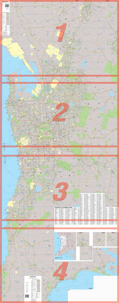 Adelaide 4 Sheet Map UBD 1010 x 2535mm Laminated Wall Map with Hang Rails