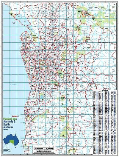 Map Of Adelaide Australia.Adelaide Postcode Map 788 X 1036mm Laminated Wall Map