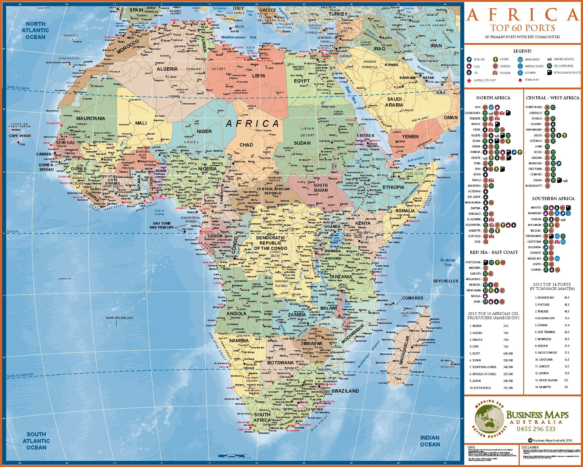 Full Map Of Australia.Africa Top 60 Port 1200 X 900mm Bma Laminated Wall Map