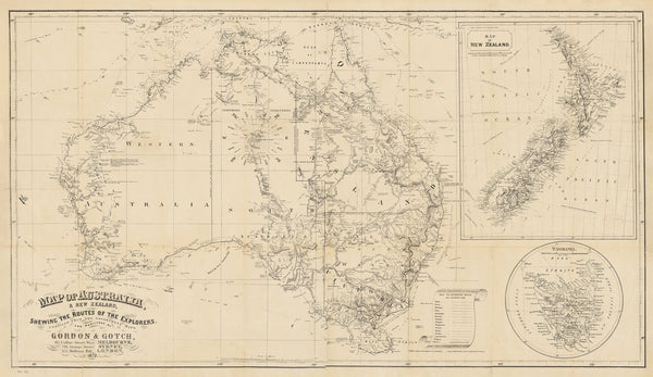 Map of Australia & New Zealand Shewing The Routes of the Explorers published 1872