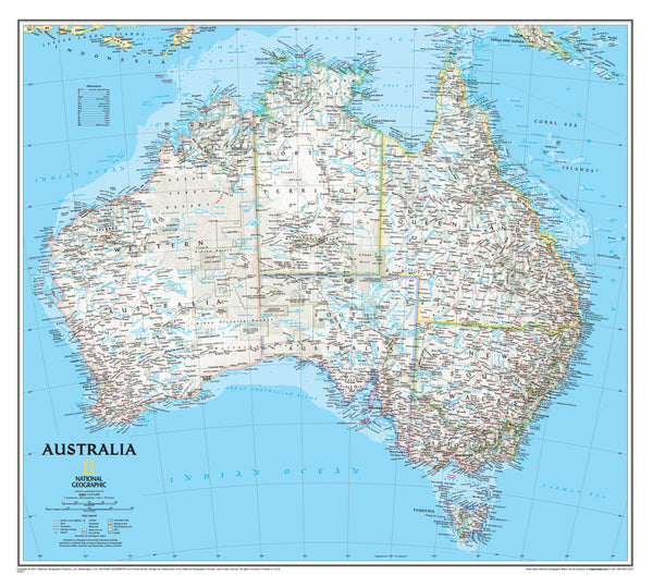 Australia NGS 770 x 689mm Laminated Wall Map with Hang Rails