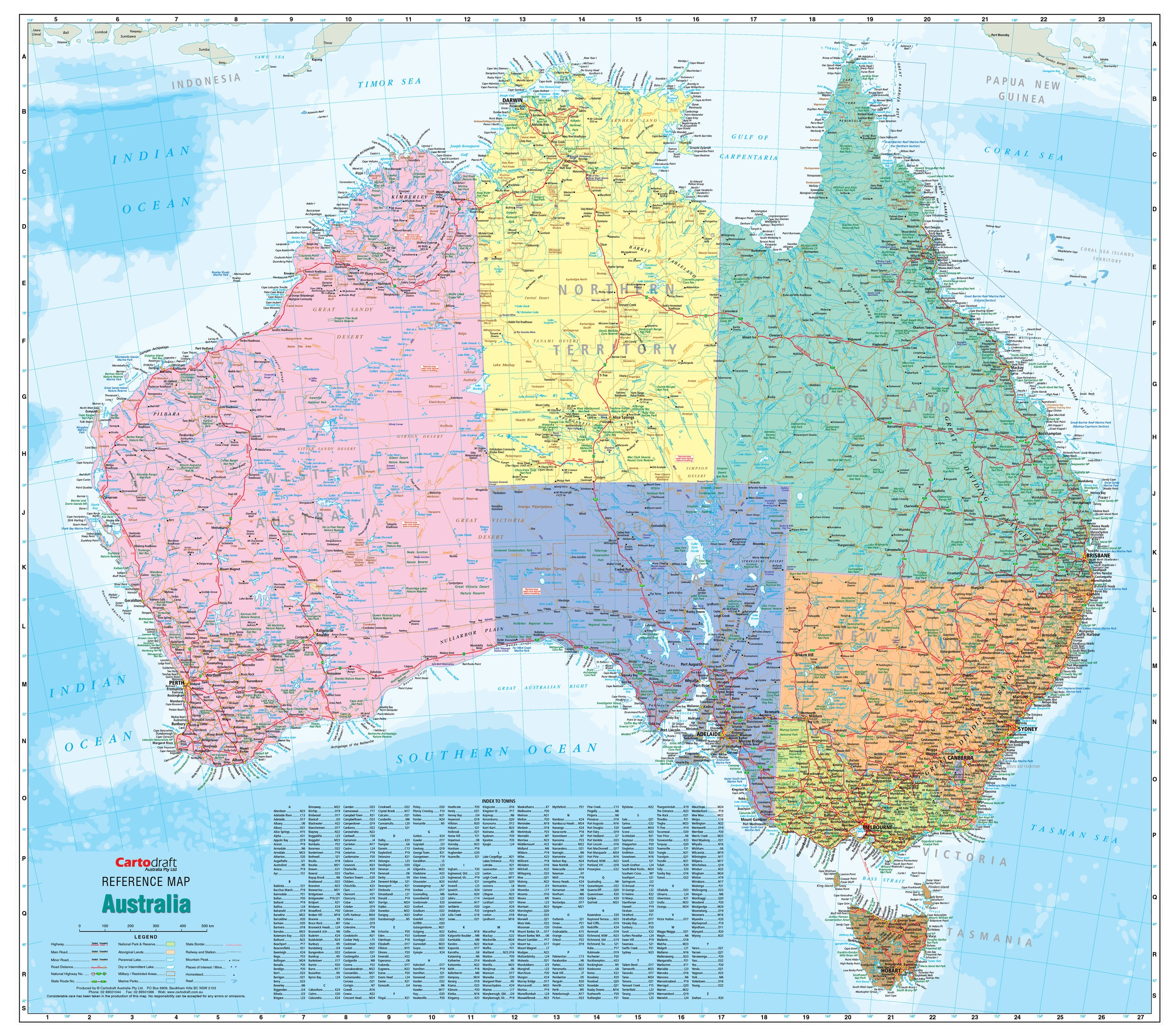 Australia Political Reference 1680 x 1480mm Laminated Wall Map