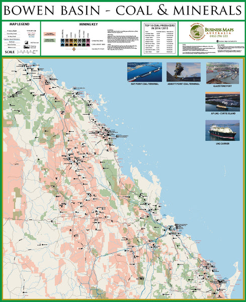Bowen Basin Coal & Minerals BMA 900 x 1070mm Laminated Wall Map