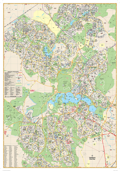 Canberra UBD 259 Map 690 x 1000mm Laminated Wall Map with Hang Rails