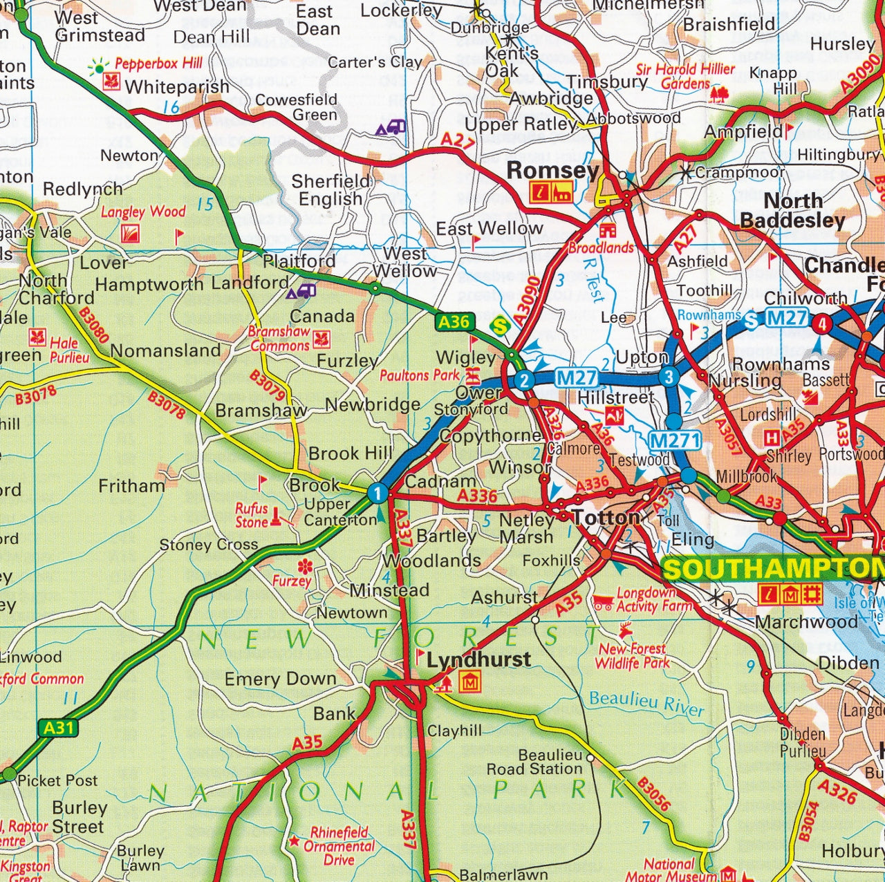 Map Of The South England.Central Southern England Aa Road Map 2